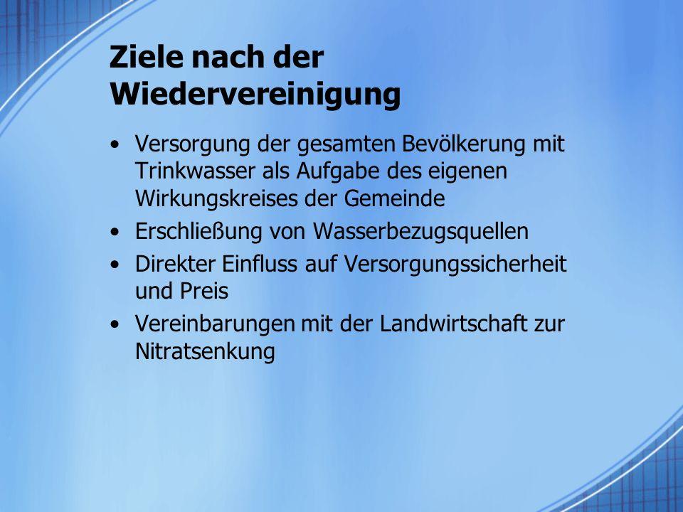 Ziele nach der Wiedervereinigung Versorgung der gesamten Bevölkerung mit Trinkwasser als Aufgabe des eigenen Wirkungskreises der Gemeinde Erschließung von Wasserbezugsquellen Direkter Einfluss auf Versorgungssicherheit und Preis Vereinbarungen mit der Landwirtschaft zur Nitratsenkung