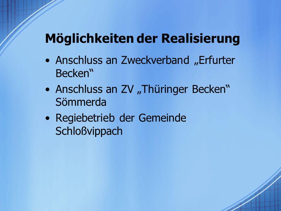 """Möglichkeiten der Realisierung Anschluss an Zweckverband """"Erfurter Becken Anschluss an ZV """"Thüringer Becken Sömmerda Regiebetrieb der Gemeinde Schloßvippach"""