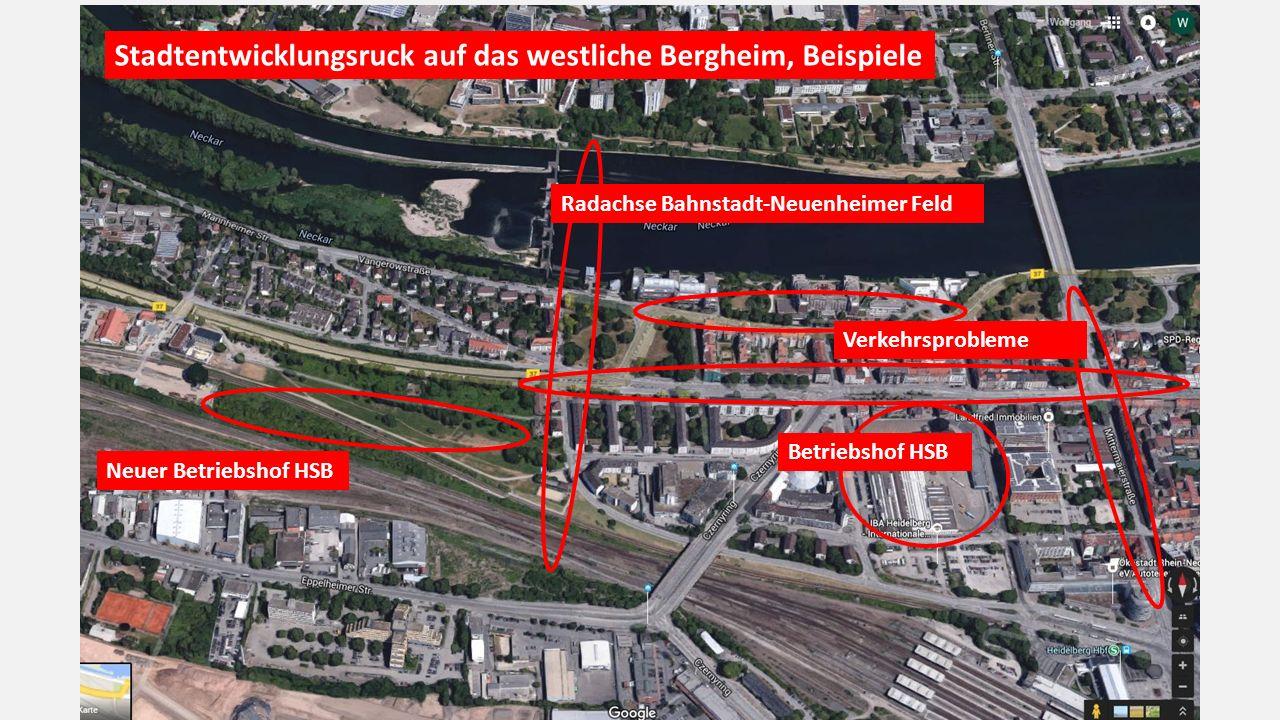 Stadtentwicklungsruck auf das westliche Bergheim, Beispiele Radachse Bahnstadt-Neuenheimer Feld Betriebshof HSB Neuer Betriebshof HSB Verkehrsprobleme
