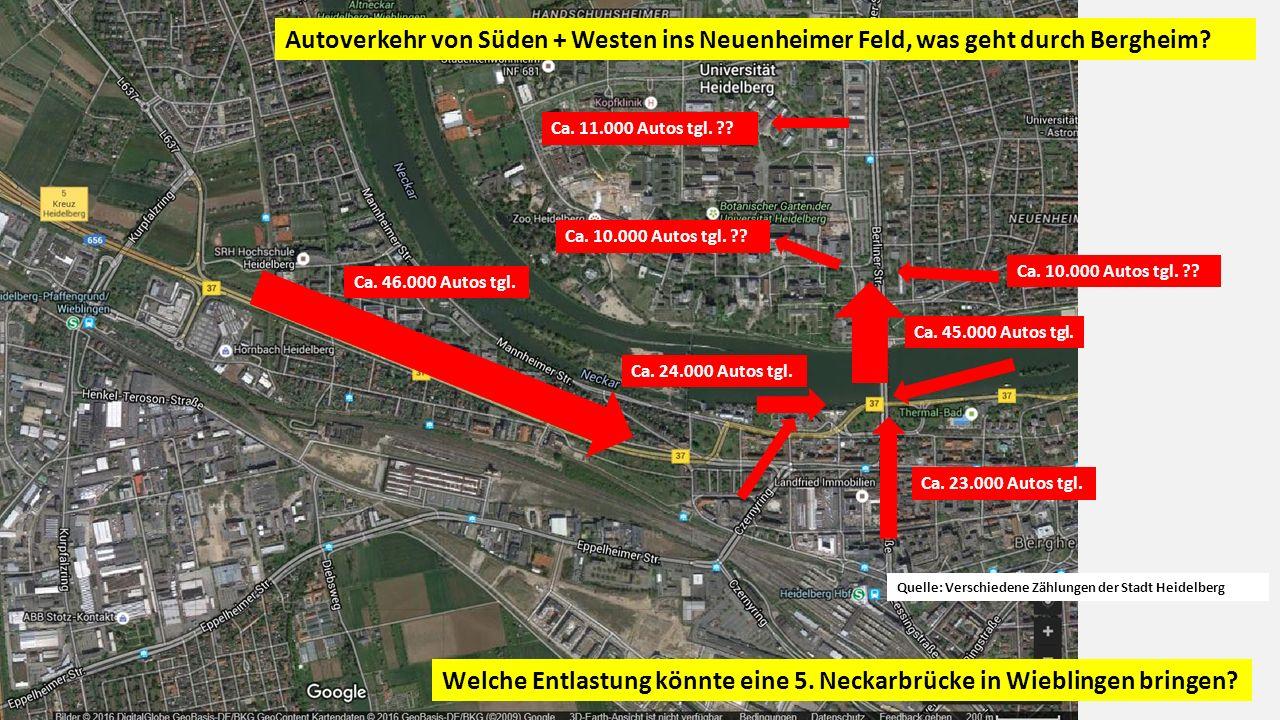 Autoverkehr von Süden + Westen ins Neuenheimer Feld, was geht durch Bergheim.