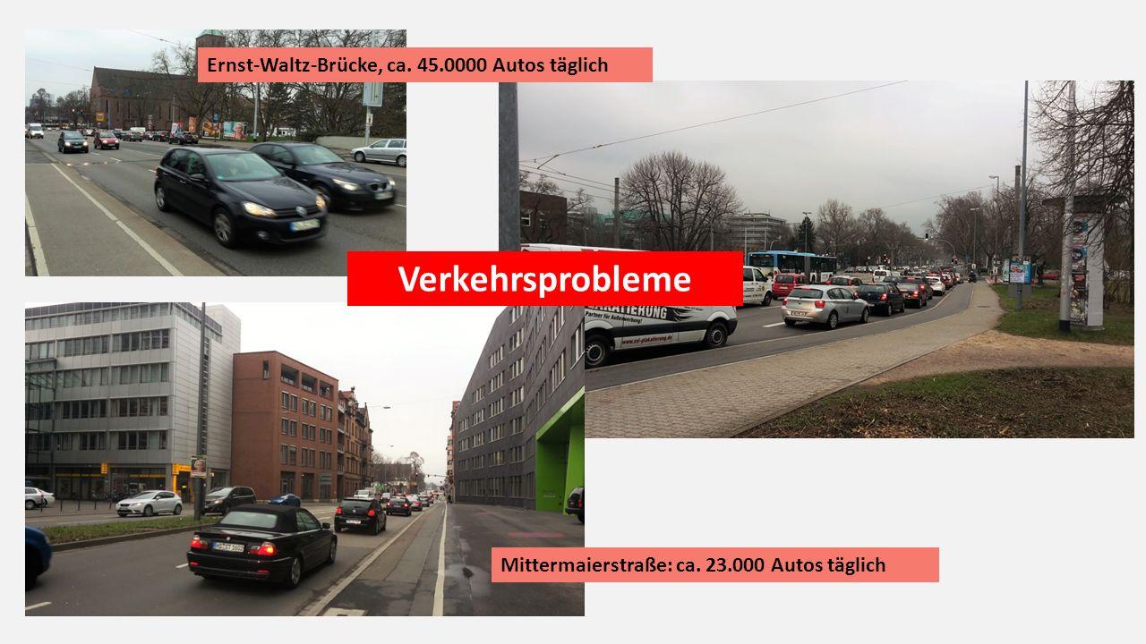 Mittermaierstraße: ca. 23.000 Autos täglich Ernst-Waltz-Brücke, ca.