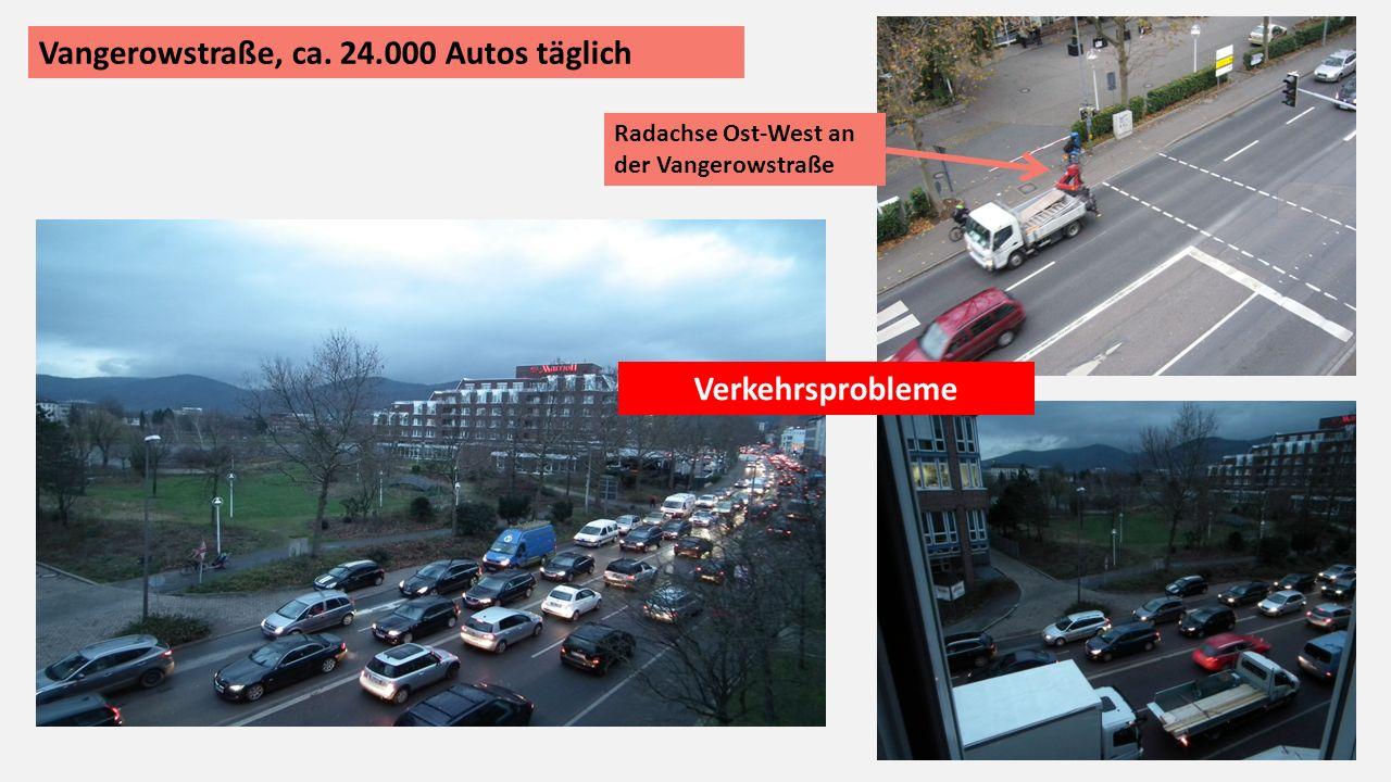Vangerowstraße, ca. 24.000 Autos täglich Radachse Ost-West an der Vangerowstraße Verkehrsprobleme