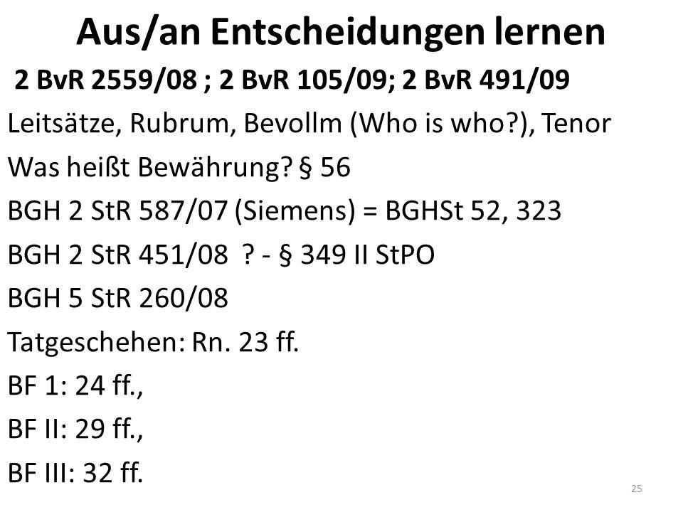 Aus/an Entscheidungen lernen 2 BvR 2559/08 ; 2 BvR 105/09; 2 BvR 491/09 Leitsätze, Rubrum, Bevollm (Who is who ), Tenor Was heißt Bewährung.