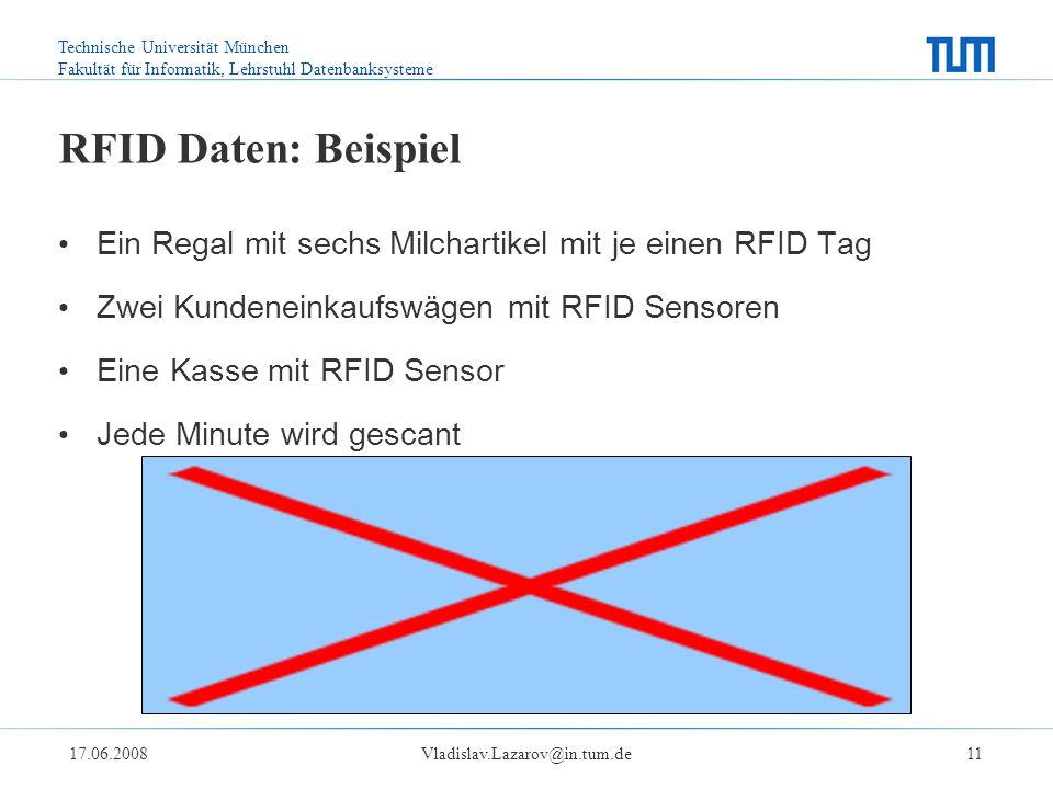 Technische Universität München Fakultät für Informatik, Lehrstuhl Datenbanksysteme 17.06.2008Vladislav.Lazarov@in.tum.de11 RFID Daten: Beispiel Ein Regal mit sechs Milchartikel mit je einen RFID Tag Zwei Kundeneinkaufswägen mit RFID Sensoren Eine Kasse mit RFID Sensor Jede Minute wird gescant