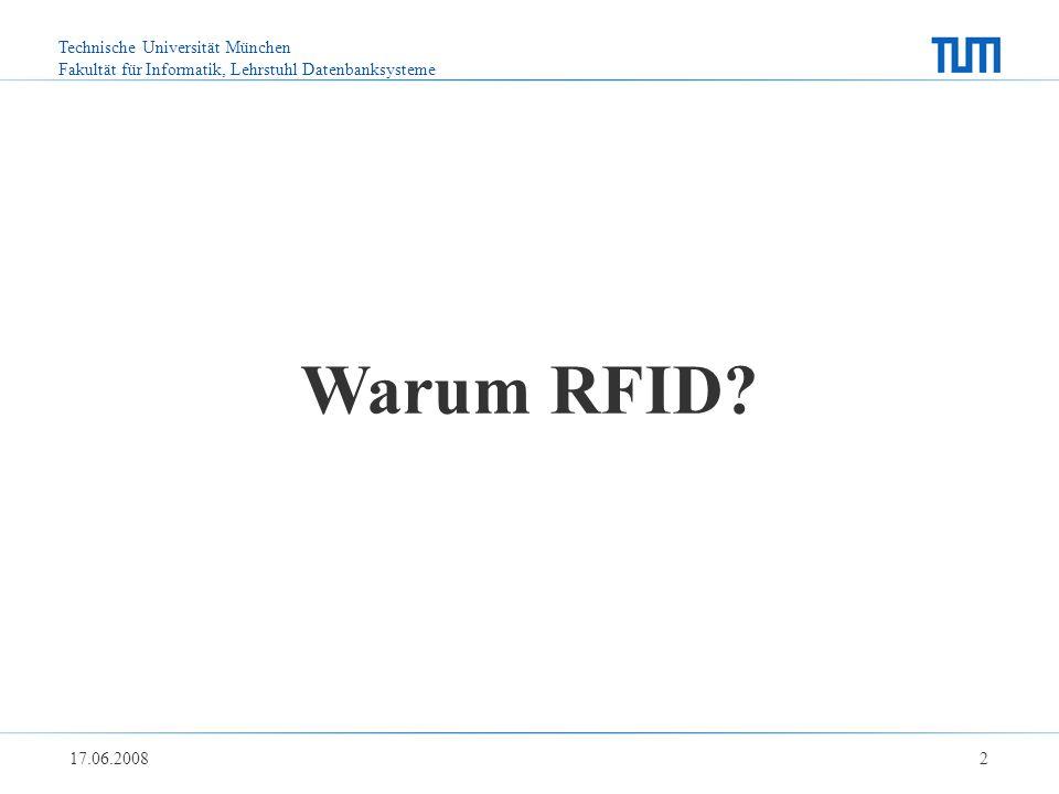 Technische Universität München Fakultät für Informatik, Lehrstuhl Datenbanksysteme 17.06.2008 2 Warum RFID