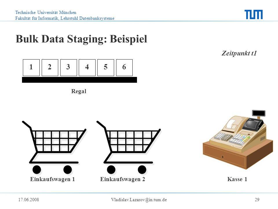 Technische Universität München Fakultät für Informatik, Lehrstuhl Datenbanksysteme 17.06.2008Vladislav.Lazarov@in.tum.de29 Bulk Data Staging: Beispiel Einkaufswagen 1 Einkaufswagen 2 Kasse 1 Regal 123456 Zeitpunkt t1