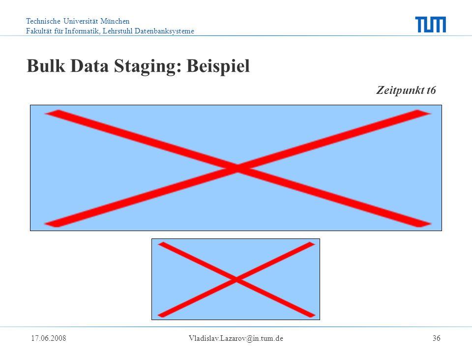Technische Universität München Fakultät für Informatik, Lehrstuhl Datenbanksysteme 17.06.2008Vladislav.Lazarov@in.tum.de36 Bulk Data Staging: Beispiel Zeitpunkt t6