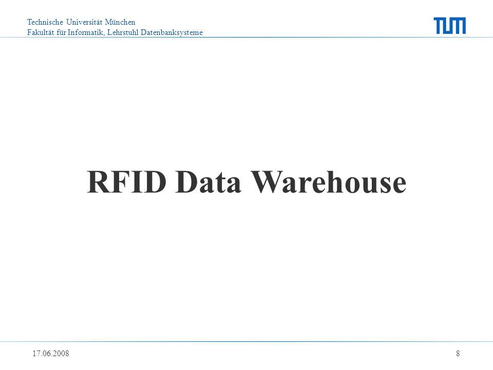 Technische Universität München Fakultät für Informatik, Lehrstuhl Datenbanksysteme 17.06.2008 8 RFID Data Warehouse