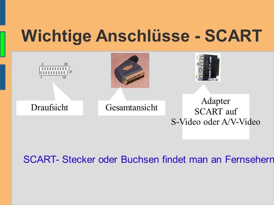 Wichtige Anschlüsse - SCART DraufsichtGesamtansicht Adapter SCART auf S-Video oder A/V-Video SCART- Stecker oder Buchsen findet man an Fernsehern, Video-Rekordern oder DVD-Playern.