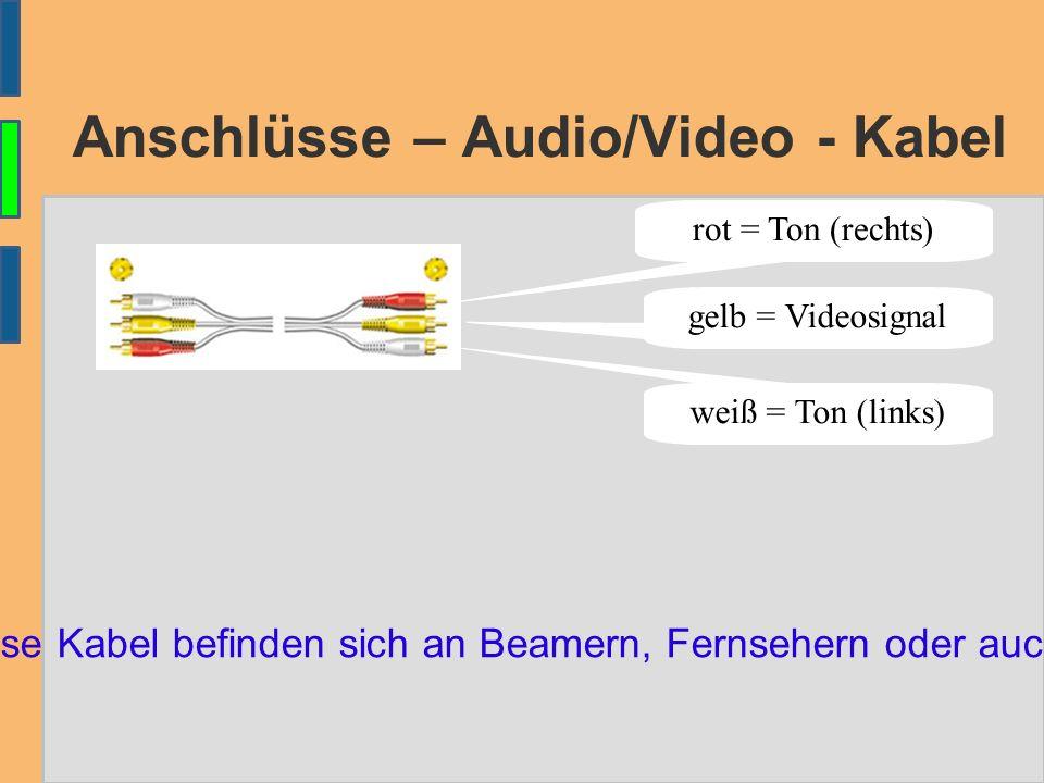 Anschlüsse – Audio/Video - Kabel Anschlüsse für diese Kabel befinden sich an Beamern, Fernsehern oder auch an Digitalkameras rot = Ton (rechts) gelb =