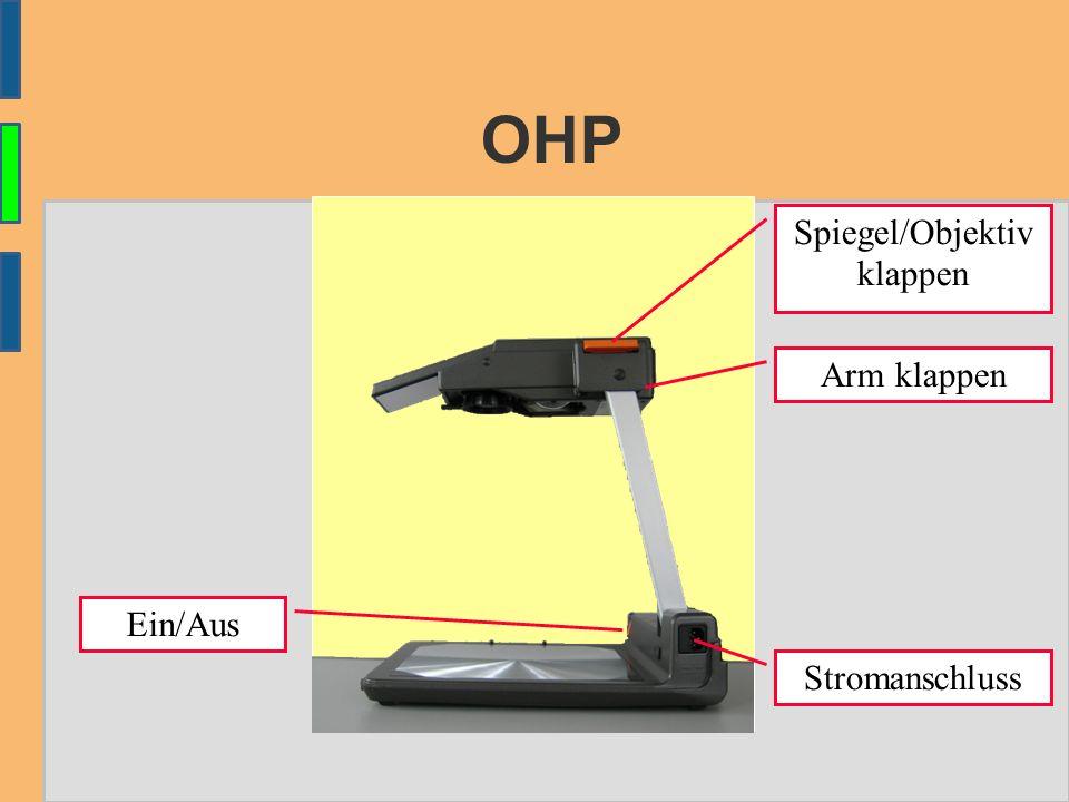 OHP Ein/Aus Stromanschluss Spiegel/Objektiv klappen Arm klappen
