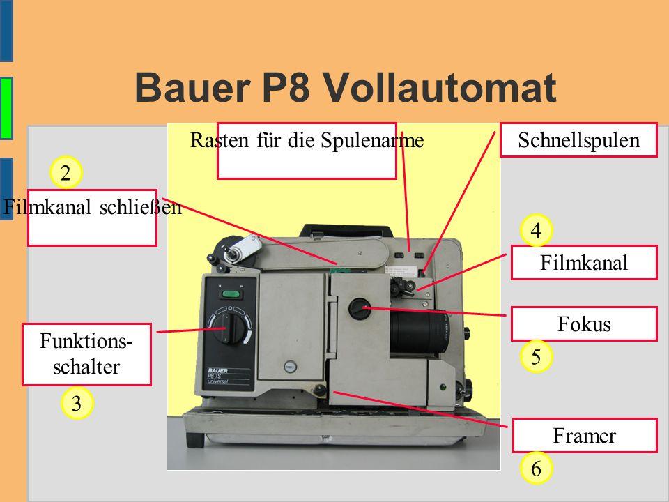 Bauer P8 Vollautomat Funktions- schalter Rasten für die Spulenarme Framer Schnellspulen Filmkanal schließen Fokus 2 3 Filmkanal 4 5 6