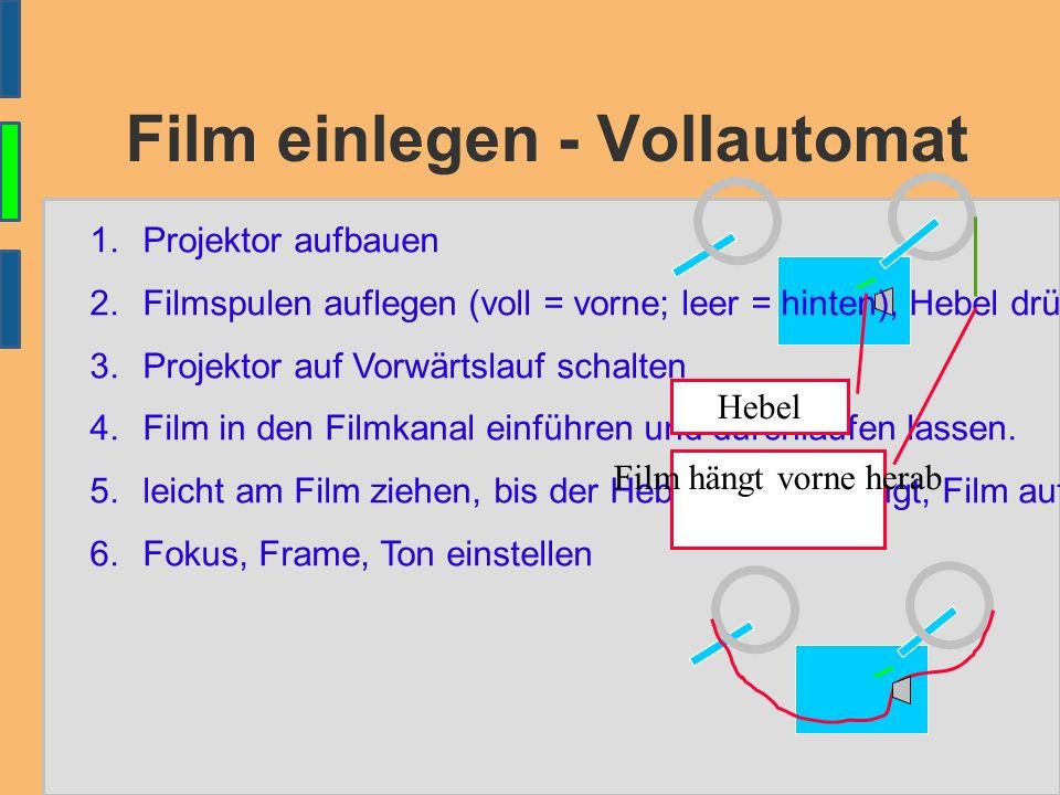Film einlegen - Vollautomat 1.Projektor aufbauen 2.Filmspulen auflegen (voll = vorne; leer = hinten), Hebel drücken 3.Projektor auf Vorwärtslauf schalten 4.Film in den Filmkanal einführen und durchlaufen lassen.