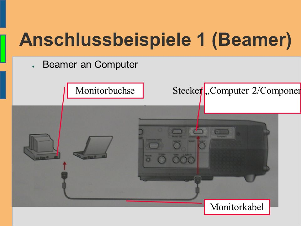 "Anschlussbeispiele 1 (Beamer) ● Beamer an Computer Monitorbuchse Monitorkabel Stecker ""Computer 2/Component Video"