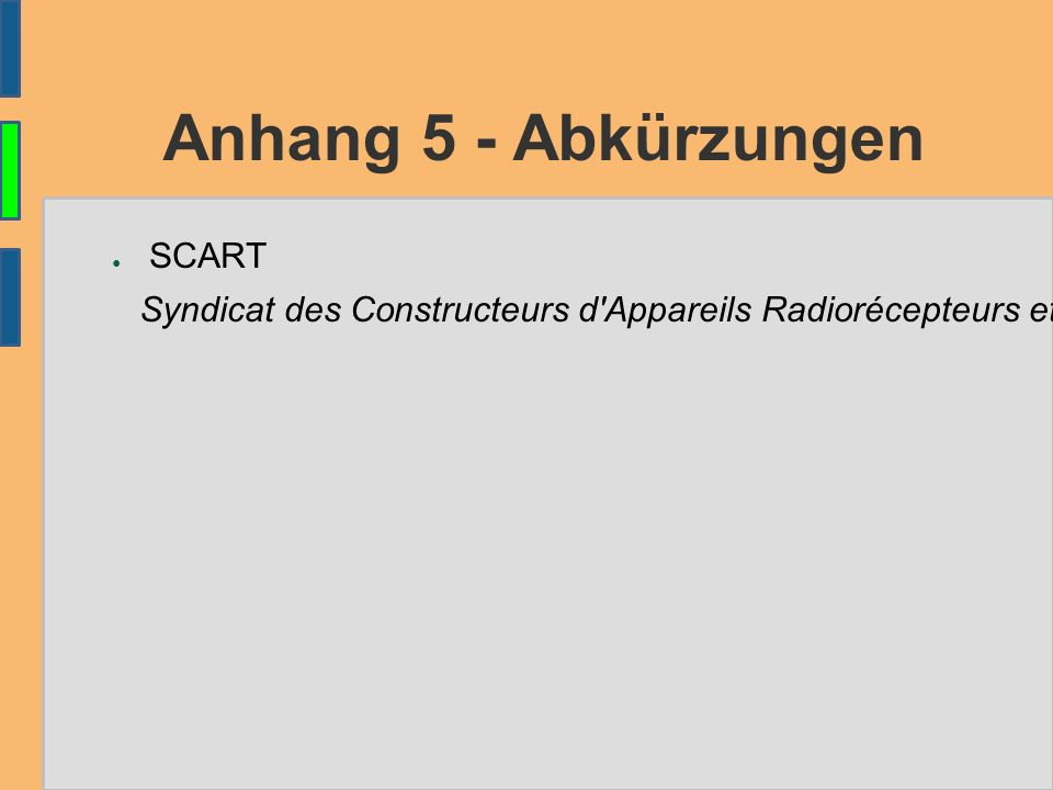 Anhang 5 - Abkürzungen ● SCART Syndicat des Constructeurs d'Appareils Radiorécepteurs et Téléviseurs