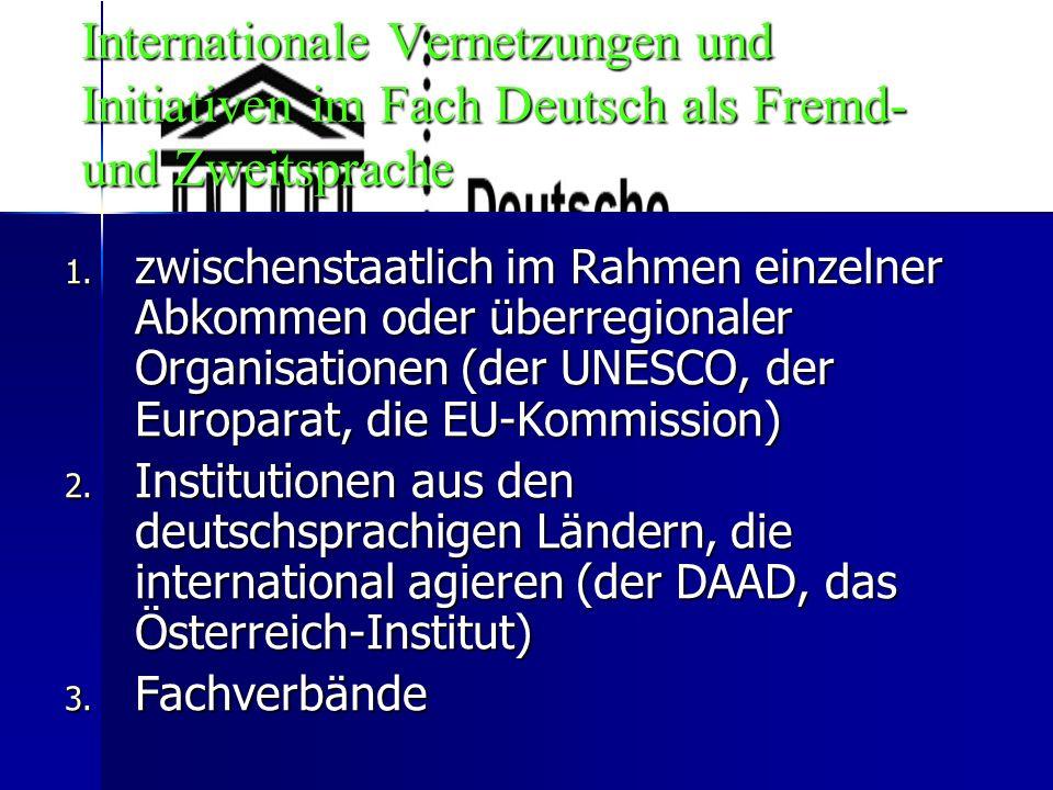 Internationale Vernetzungen und Initiativen im Fach Deutsch als Fremd- und Zweitsprache 1.