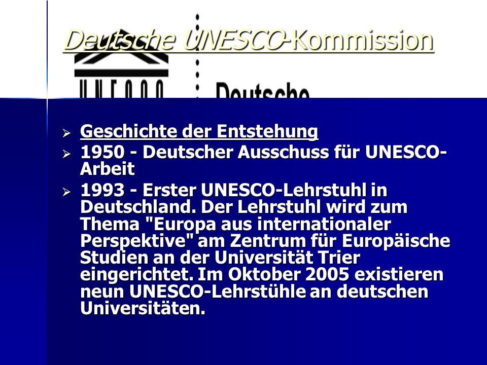  Ziele der Deutschen UNESCO-Kommission  Die Deutsche UNESCO-Kommission (DUK) ist Deutschlands Mittlerorganisation für multilaterale Politik in Bildung, Wissenschaft, Kultur und Kommunikation, den Programmbereichen der UNESCO (United Nations Educational, Scientific and Cultural Organization).