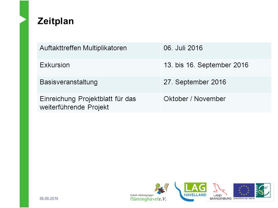 06-06-2016 Zeitplan … Auftakttreffen Multiplikatoren06. Juli 2016 Exkursion13. bis 16. September 2016 Basisveranstaltung27. September 2016 Einreichung