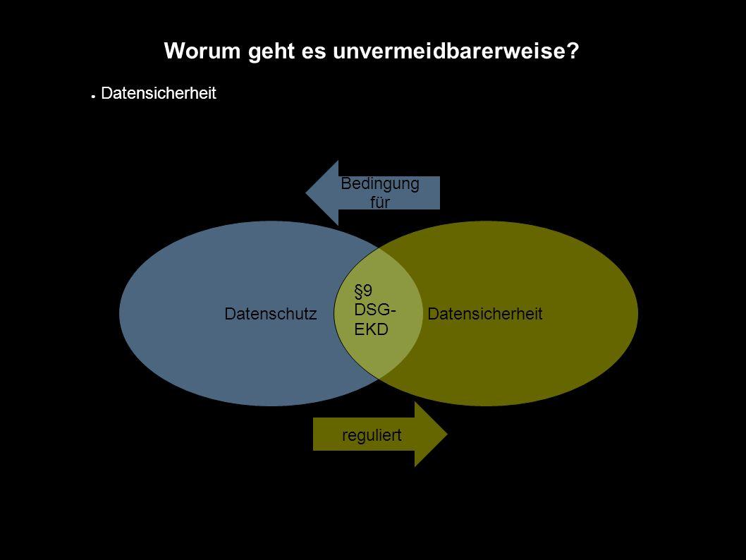 Worum geht es unvermeidbarerweise? ● Datensicherheit Datenschutz Datensicherheit Bedingung für reguliert §9 DSG- EKD