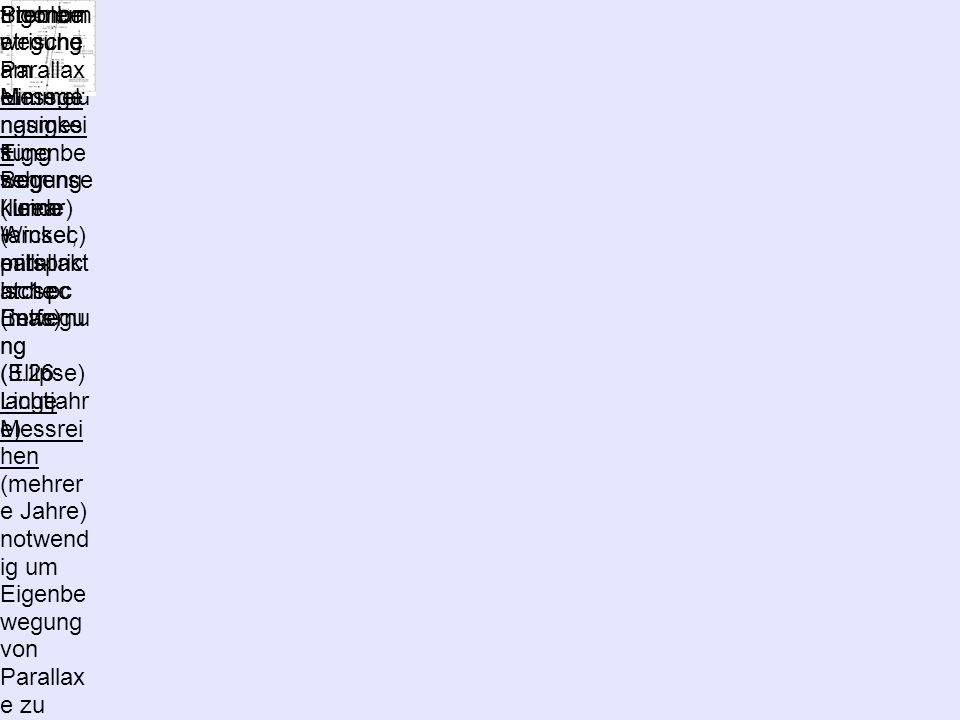 Die Schwieri gkeit der Entfernu ngsmes sung Sternbe wegung am Himmel: Eigenbe wegung (linear) + parallakt ische Bewegu ng (Ellipse) trigonom etrische Parallax e: 1 Bogense kunde (arcsec) entspric ht 1 pc Entfernu ng (3.26 Lichtjahr e) Problem : Messge nauigkei t: sehr kleine Winkel, milli- arcsec (mas) lange Messrei hen (mehrer e Jahre) notwend ig um Eigenbe wegung von Parallax e zu trennen