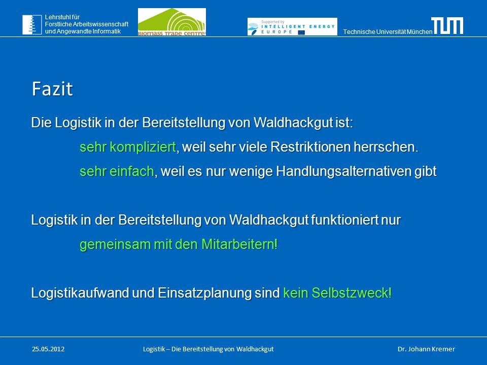 Technische Universität München Lehrstuhl für Forstliche Arbeitswissenschaft und Angewandte Informatik Logistik – Die Bereitstellung von Waldhackgut 25.05.2012Dr.