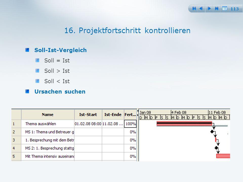113 Soll-Ist-Vergleich Soll = Ist Soll > Ist Soll < Ist Ursachen suchen 16.