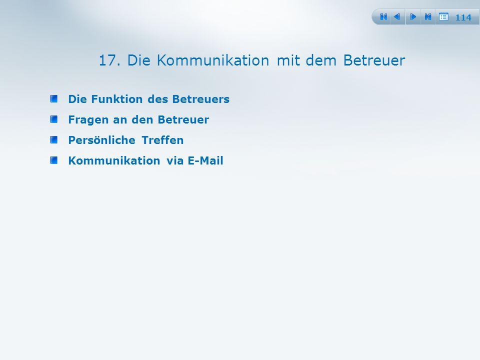 114 Die Funktion des Betreuers Fragen an den Betreuer Persönliche Treffen Kommunikation via E-Mail 17.