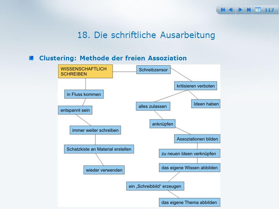 117 Clustering: Methode der freien Assoziation 18. Die schriftliche Ausarbeitung
