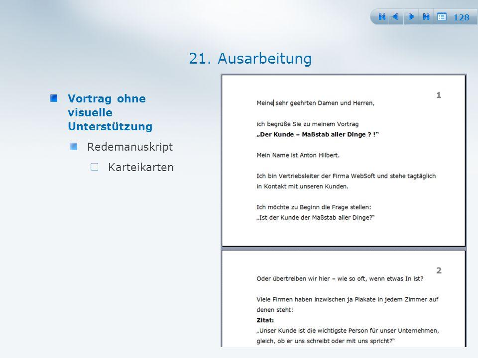 128 Vortrag ohne visuelle Unterstützung Redemanuskript Karteikarten 21. Ausarbeitung