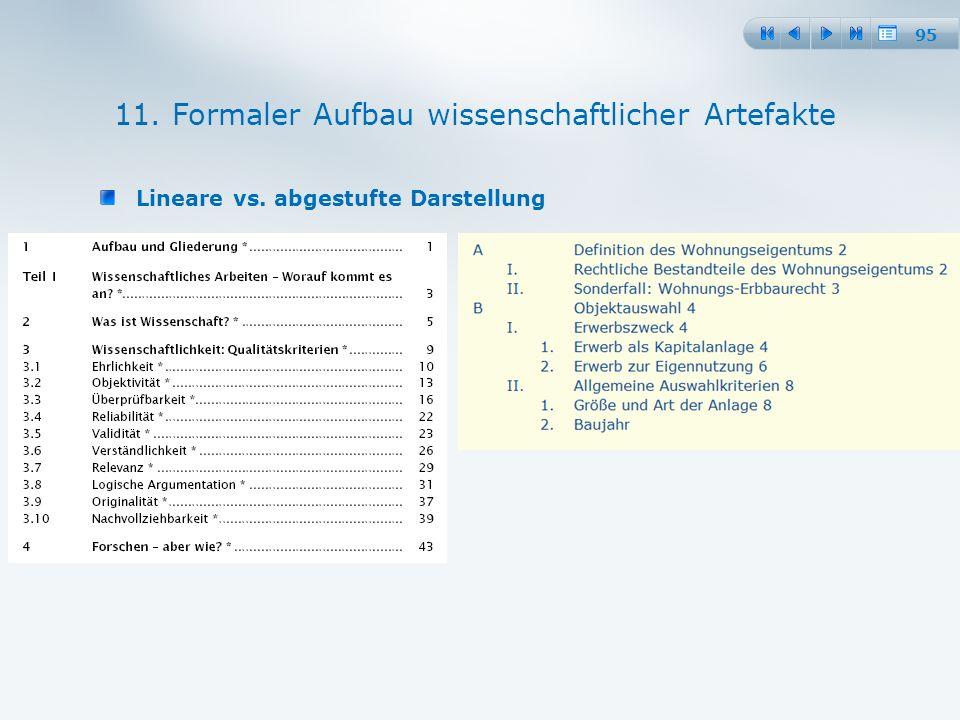 95 Lineare vs. abgestufte Darstellung 11. Formaler Aufbau wissenschaftlicher Artefakte