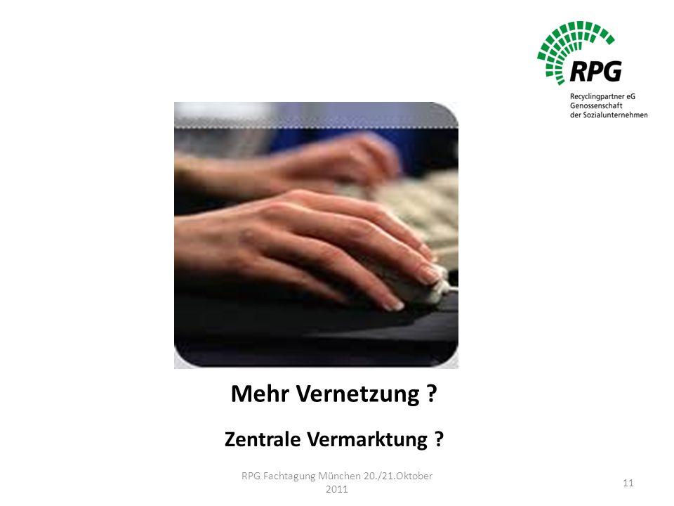Mehr Vernetzung Zentrale Vermarktung RPG Fachtagung München 20./21.Oktober 2011 11