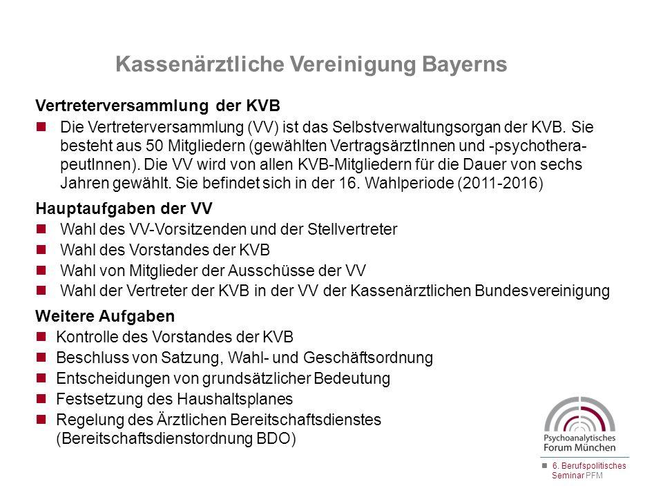 Kassenärztliche Vereinigung Bayerns Vertreterversammlung der KVB Die Vertreterversammlung (VV) ist das Selbstverwaltungsorgan der KVB. Sie besteht aus