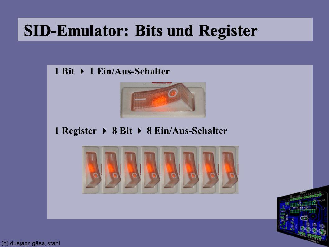 (c) dusjagr, gäss, stahl SID-Emulator: Bits und Register 1 Bit  1 Ein/Aus-Schalter 1 Register  8 Bit  8 Ein/Aus-Schalter