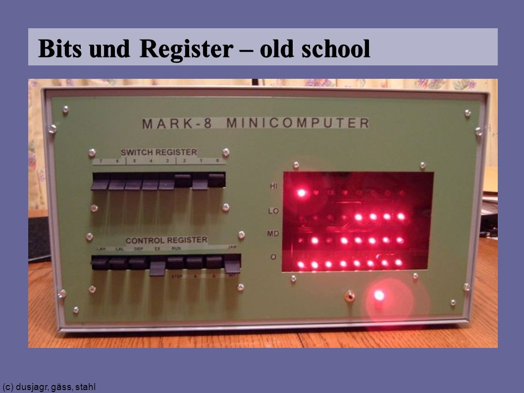 (c) dusjagr, gäss, stahl Bits und Register – old school