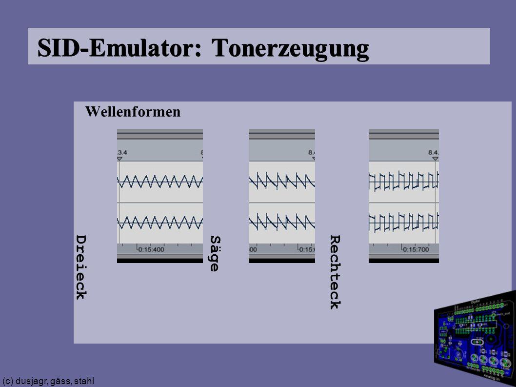 (c) dusjagr, gäss, stahl SID-Emulator: Tonerzeugung Wellenformen A Dreieck Säge Rechteck