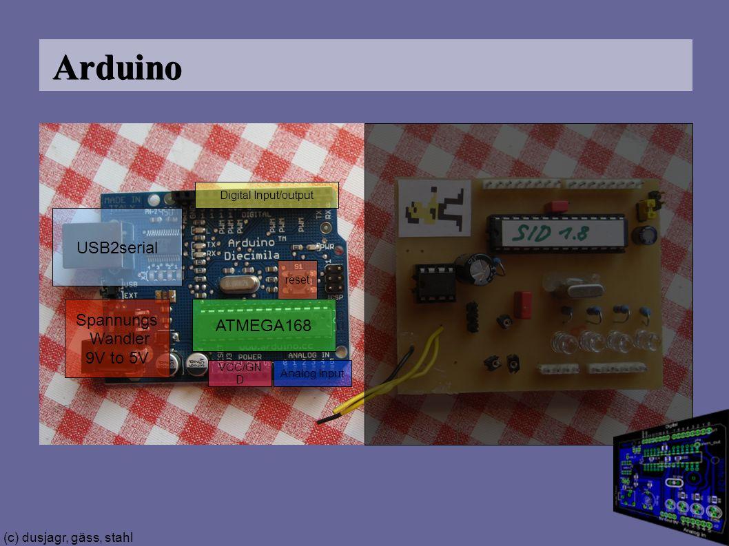 (c) dusjagr, gäss, stahl Arduino USB2serial Spannungs Wandler 9V to 5V ATMEGA168 reset Digital Input/output Analog Input VCC/GN D