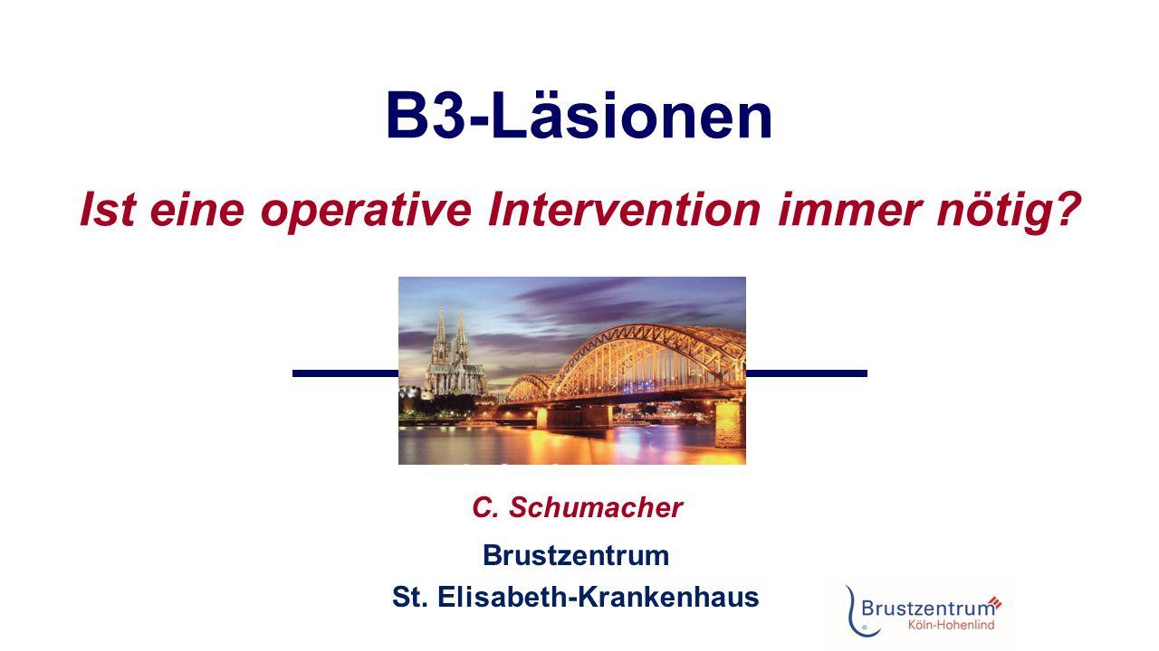 Management nach minimalinvasiver Biopsie Dabei ist zu beachten:  Repräsentativität der Stanzbiopsie (Ausdehnung der Läsion in der Bildgebung, prozentuale Entfernung durch die Stanzbiopsie)  Überwachbarkeit der Patientin