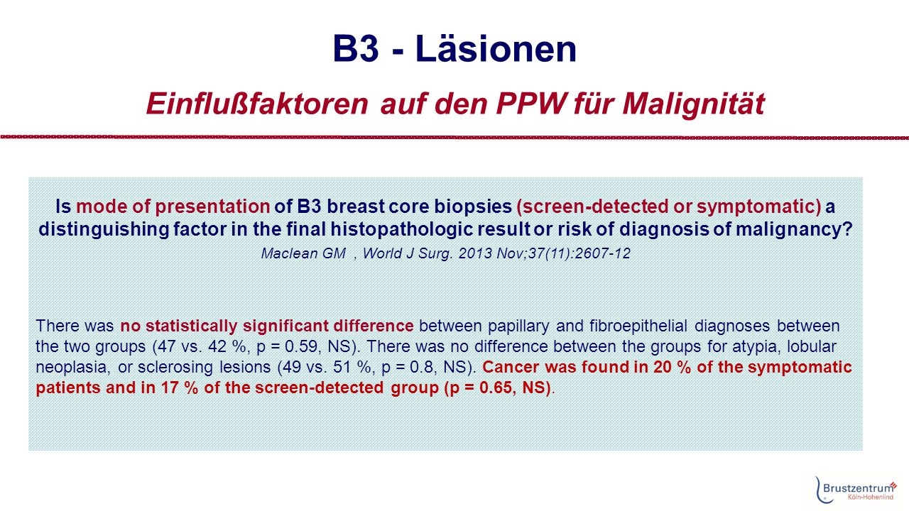 B3 - Läsionen Einflußfaktoren auf den PPW für Malignität Is mode of presentation of B3 breast core biopsies (screen-detected or symptomatic) a distinguishing factor in the final histopathologic result or risk of diagnosis of malignancy.