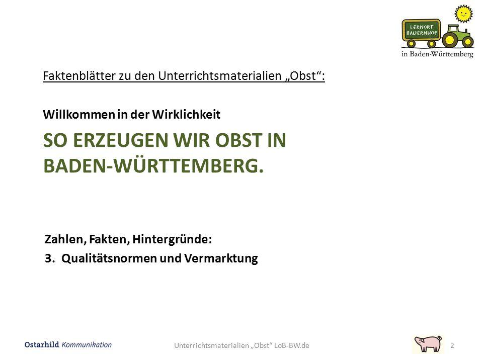 """Unterrichtsmaterialien """"Obst"""" LoB-BW.de2 SO ERZEUGEN WIR OBST IN BADEN-WÜRTTEMBERG. Faktenblätter zu den Unterrichtsmaterialien """"Obst"""": Willkommen in"""