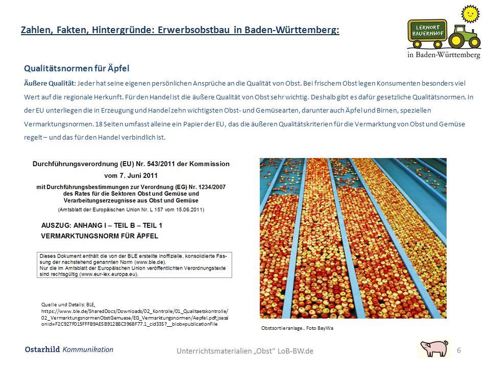 Zahlen, Fakten, Hintergründe: Erwerbsobstbau in Baden-Württemberg: 7 Qualitätsnormen für Äpfel Unter innerer Qualität wird vornehmlich das verstanden, was gemeinhin als unbelastet bezeichnet wird.