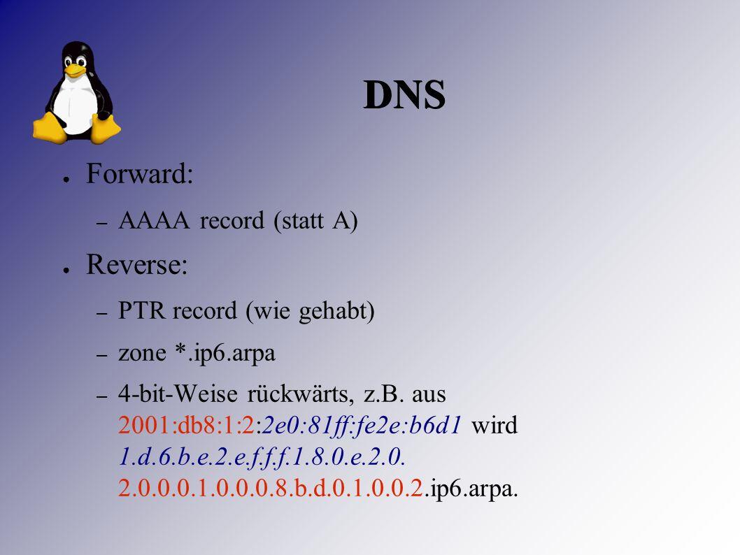 DNS ● Forward: – AAAA record (statt A) ● Reverse: – PTR record (wie gehabt) – zone *.ip6.arpa – 4-bit-Weise rückwärts, z.B.