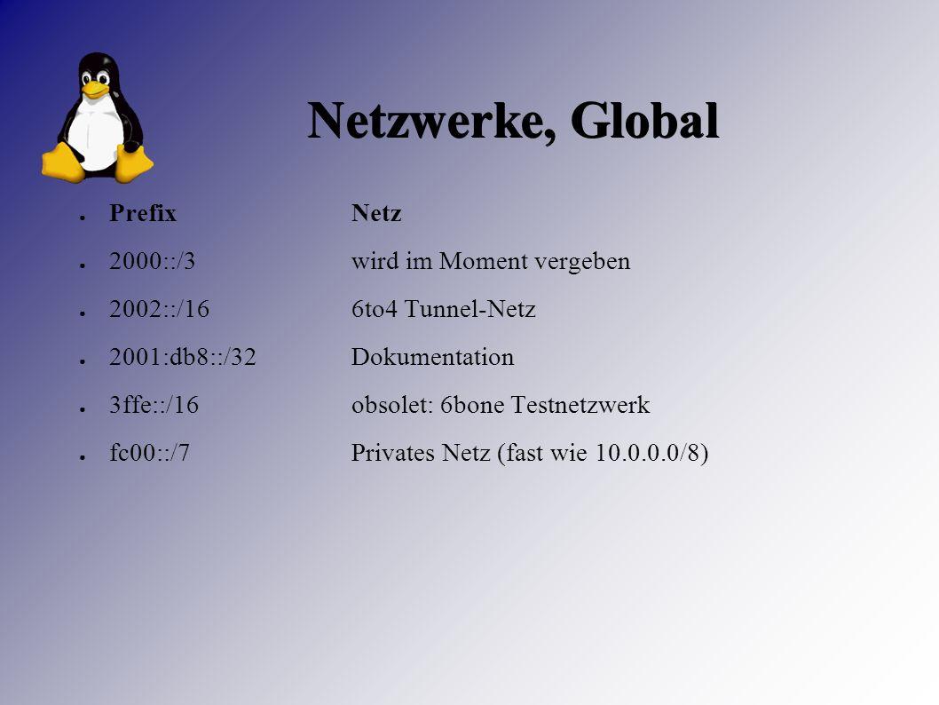 Netzwerke, Global ● PrefixNetz ● 2000::/3wird im Moment vergeben ● 2002::/166to4 Tunnel-Netz ● 2001:db8::/32Dokumentation ● 3ffe::/16obsolet: 6bone Testnetzwerk ● fc00::/7Privates Netz (fast wie 10.0.0.0/8)