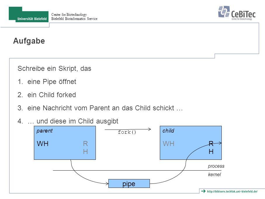 Center for Biotechnology Bielefeld Bioinformatics Service Aufgabe Schreibe ein Skript, das 1.eine Pipe öffnet 2.ein Child forked 3.eine Nachricht vom Parent an das Child schickt … 4.… und diese im Child ausgibt pipe WH RHRH process kernel WH RHRH parentchild fork()