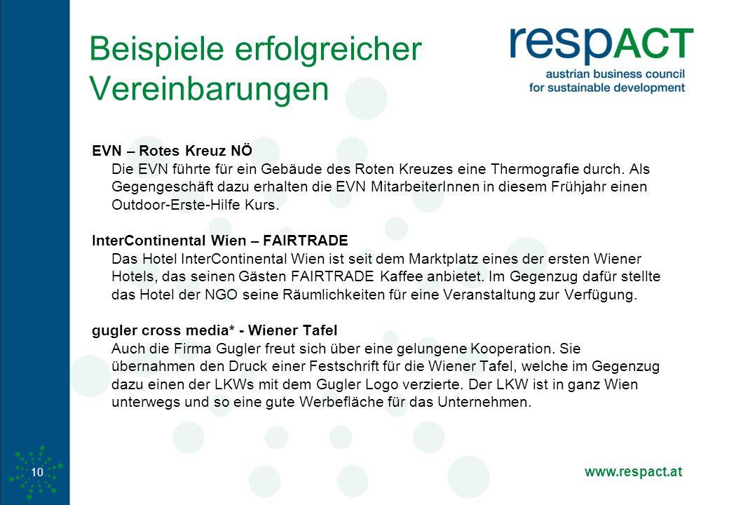 www.respact.at Beispiele erfolgreicher Vereinbarungen EVN – Rotes Kreuz NÖ Die EVN führte für ein Gebäude des Roten Kreuzes eine Thermografie durch.