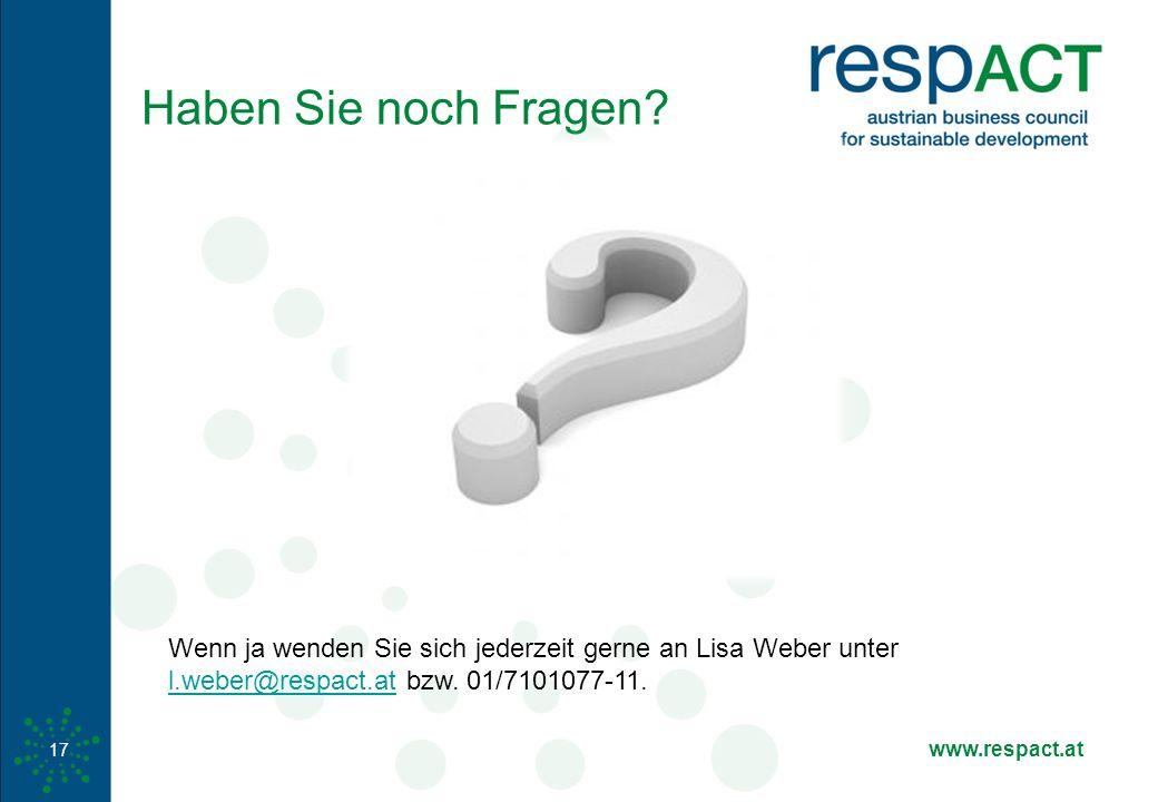 www.respact.at 17 Haben Sie noch Fragen? Wenn ja wenden Sie sich jederzeit gerne an Lisa Weber unter l.weber@respact.at bzw. 01/7101077-11. l.weber@re