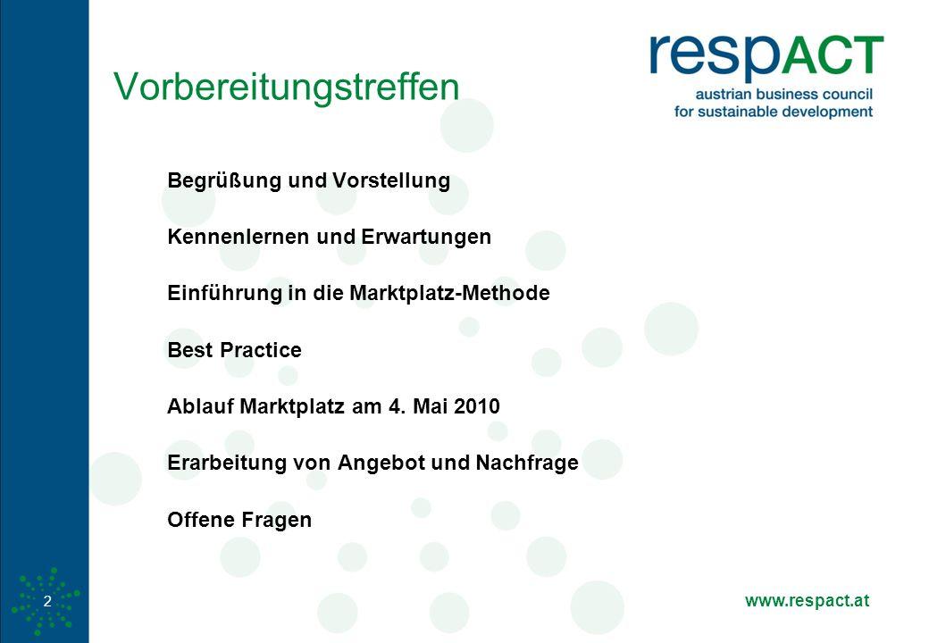 www.respact.at 2 Vorbereitungstreffen Begrüßung und Vorstellung Kennenlernen und Erwartungen Einführung in die Marktplatz-Methode Best Practice Ablauf