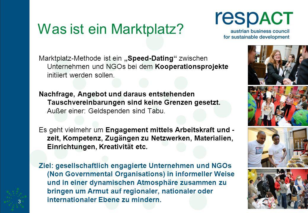 """www.respact.at 3 Was ist ein Marktplatz? Marktplatz-Methode ist ein """"Speed-Dating"""" zwischen Unternehmen und NGOs bei dem Kooperationsprojekte initiier"""
