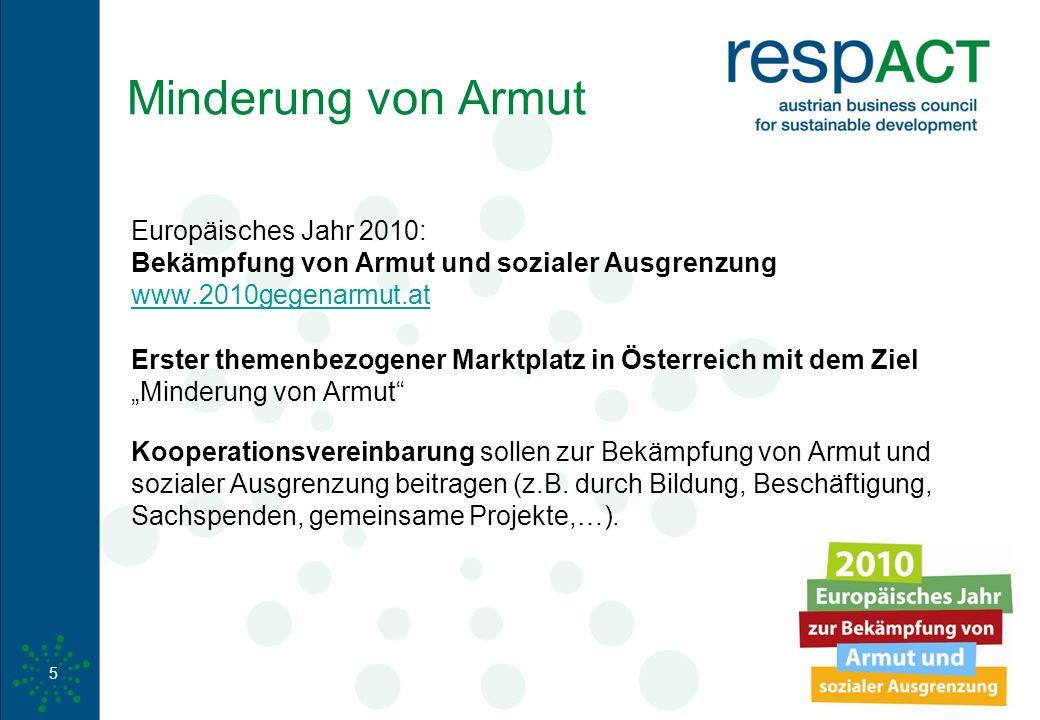 www.respact.at Minderung von Armut Europäisches Jahr 2010: Bekämpfung von Armut und sozialer Ausgrenzung www.2010gegenarmut.at Erster themenbezogener
