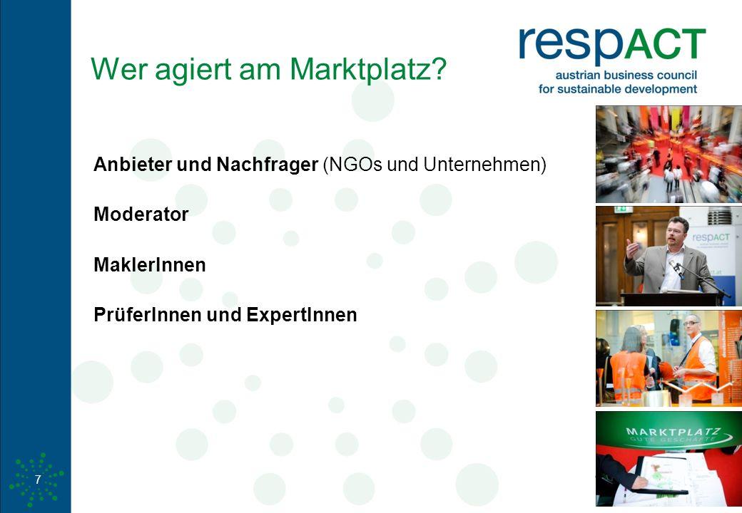 www.respact.at 7 Wer agiert am Marktplatz? Anbieter und Nachfrager (NGOs und Unternehmen) Moderator MaklerInnen PrüferInnen und ExpertInnen