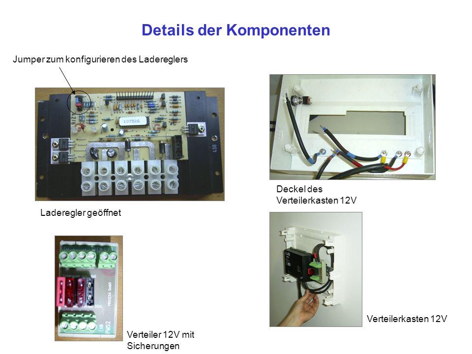 Details der Komponenten Laderegler geöffnet Verteilerkasten 12V Verteiler 12V mit Sicherungen Deckel des Verteilerkasten 12V Jumper zum konfigurieren